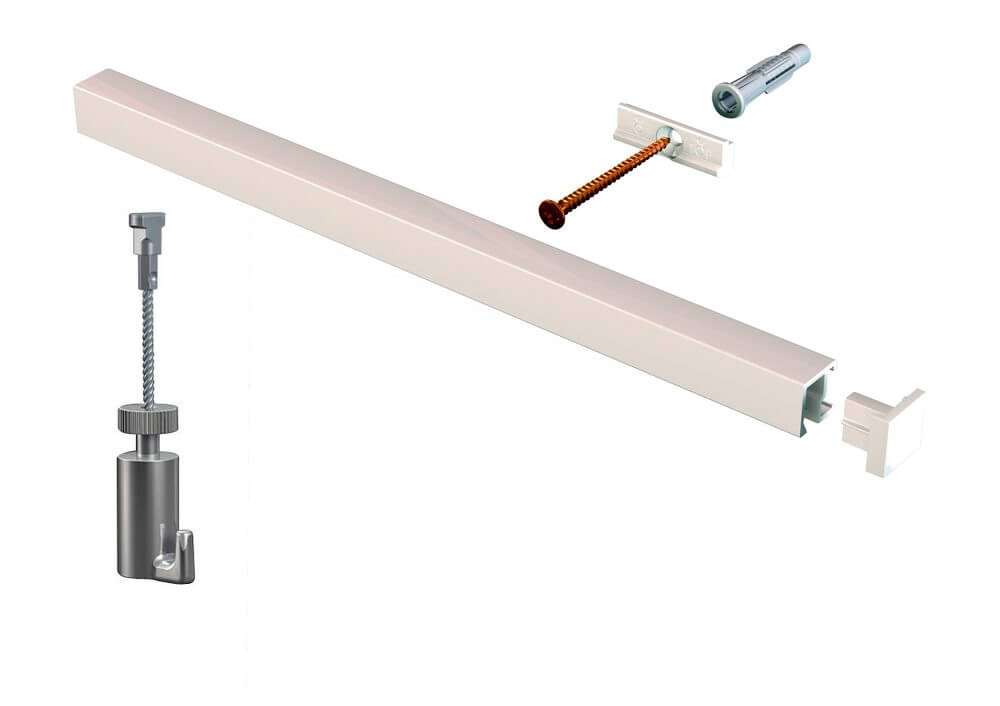 KIT contour-rail BLANC ACIER - cimaise