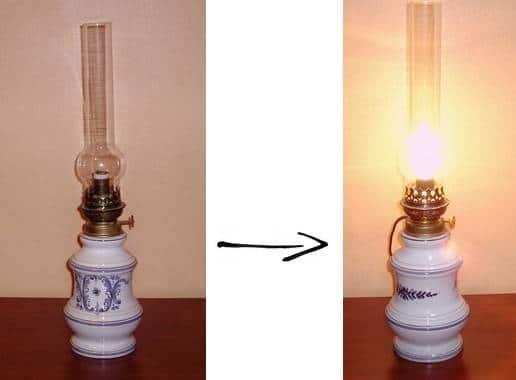 lampe pétrole montage en lampe - encadrement Paris