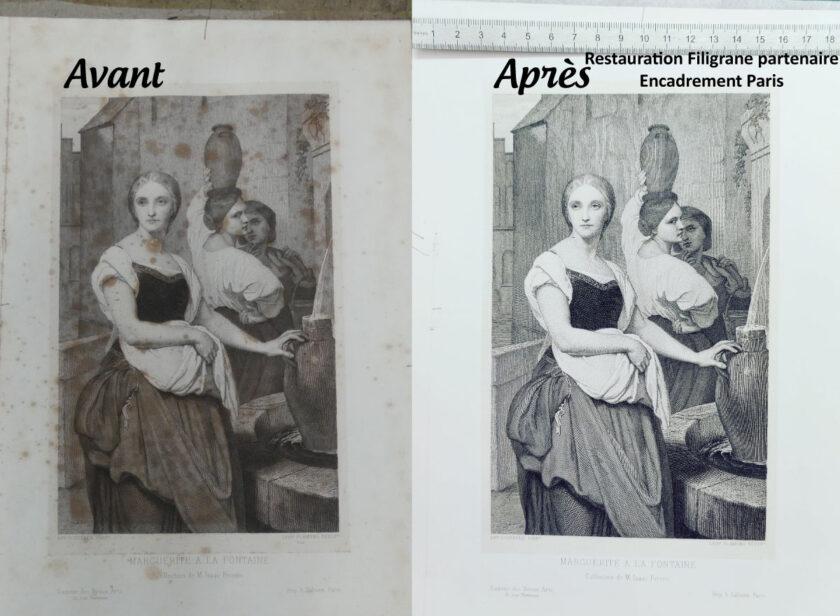 restauration-dessin-gravure-avant-après-par-filigrane-avec-encadrement-paris